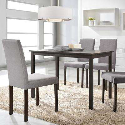 Andrew 5 Piece Gray Fabric Upholstered Dining Set. Light Gray; Dark Brown  Wood
