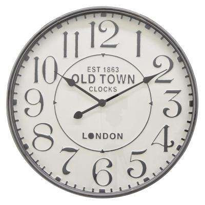 23.5 in. Gray Metal Wall Clock