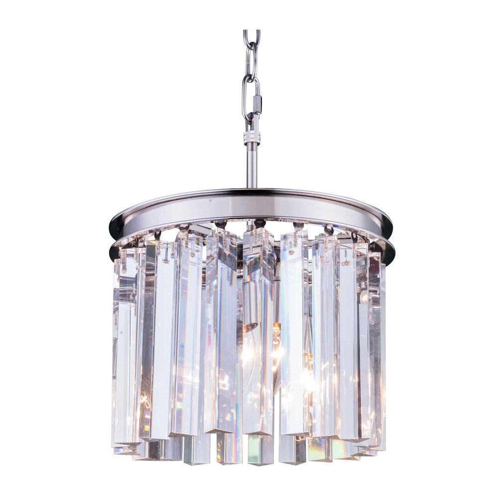 Elegant lighting sydney 3 light polished nickel chandelier with elegant lighting sydney 3 light polished nickel chandelier with clear crystal arubaitofo Choice Image