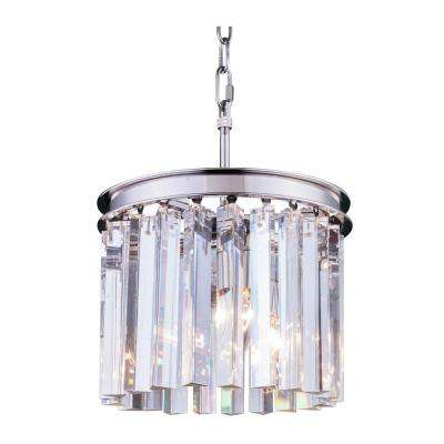 Sydney 3-Light Polished Nickel Chandelier with Clear Crystal