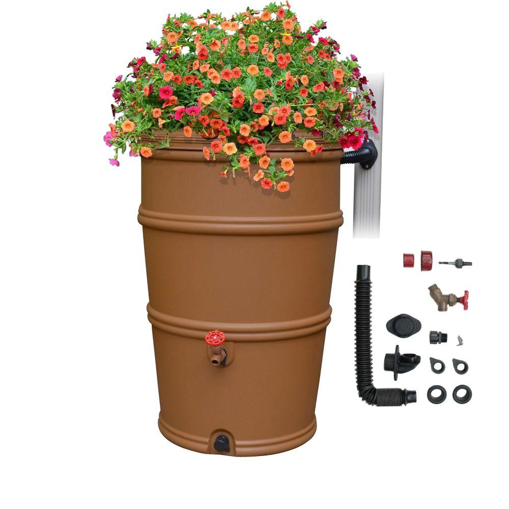 RainStation 50 Gal. Terracotta Rain Barrel with Diverter