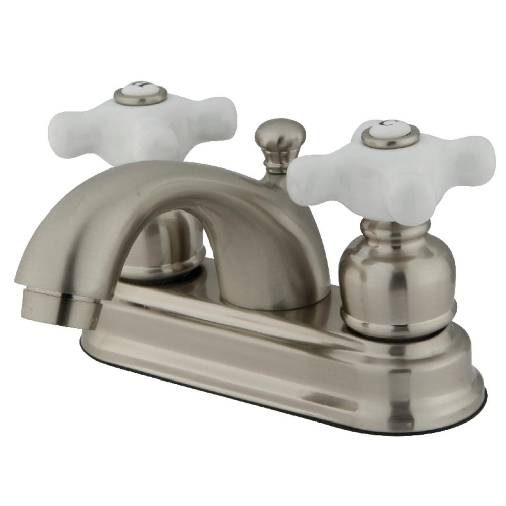 Kingston Brass Traditional 4 in. Centerset 2-Handle Bathroom Faucet in Brushed Nickel