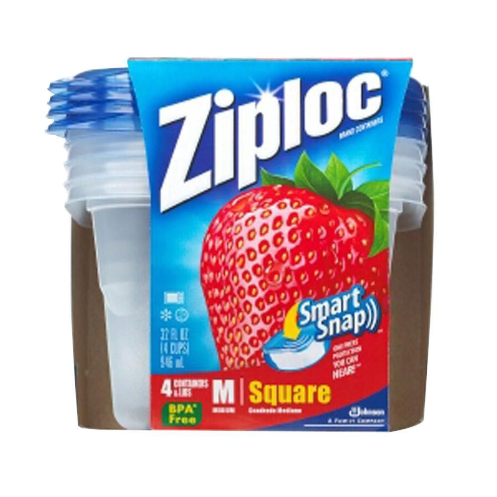 Ziploc 32 oz. Square Medium Plastic Storage Bowl with Smart Snap Lid (4 per Pack) (6 per Carton)