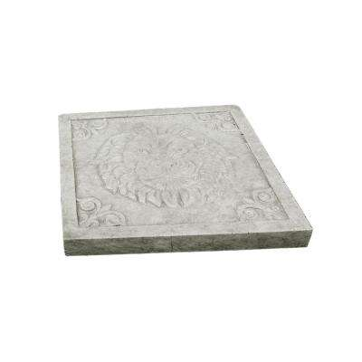11.81 in. x11.81 in. x 1.81 in. Natural Concrete Lightweight Concrete Lion Head Square Stepping Stone (2-Pack)