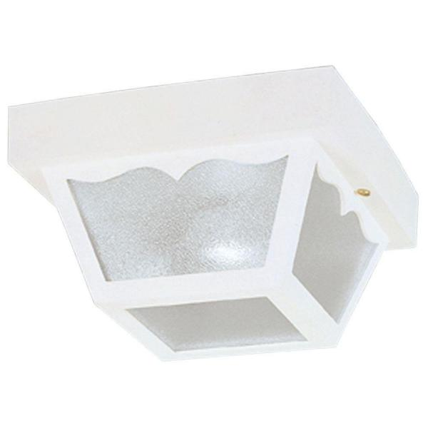 1-Light White on Hi-Impact Polypropylene Flush-Mount Exterior Fixture with Clear Textured Glass Panels