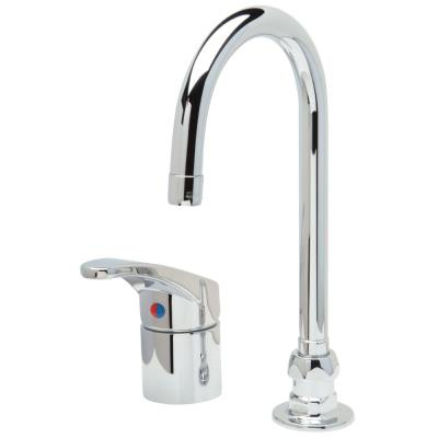 AquaSpec Single Control Gooseneck Faucet with 5-3/8 in. Spout 2.2 GPM Pressure-Comp Aerator Lever Handle in Chrome