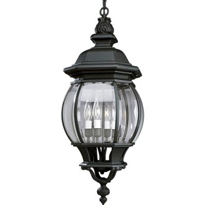Onion Hanging Lantern Collection 4-Light Outdoor Textured Black Hanging Lantern