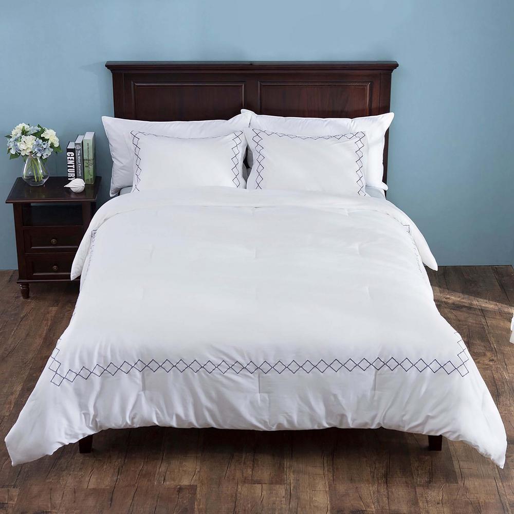 3-Piece White and Dark Blue Down Alternative Comforter Set with Pillow Shams Queen