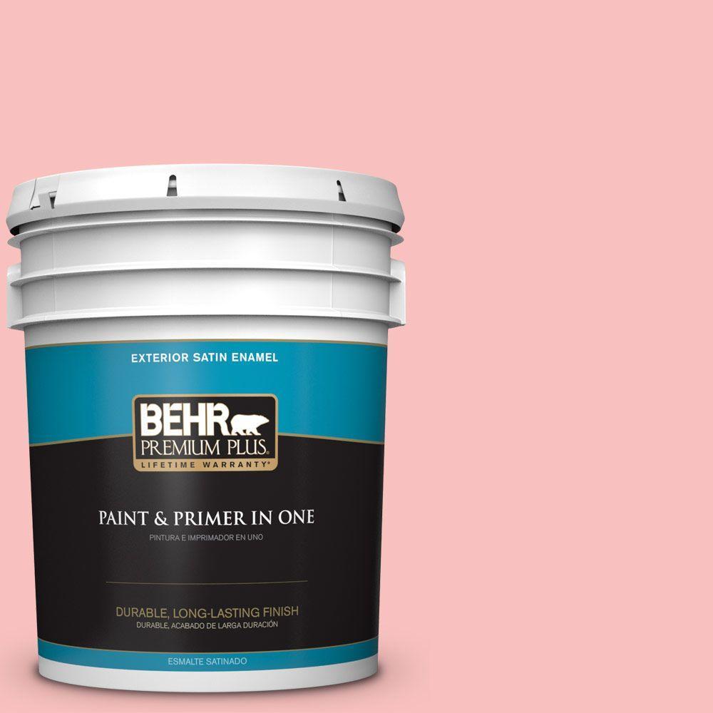 BEHR Premium Plus 5-gal. #160A-3 Pink Hydrangea Satin Enamel Exterior Paint