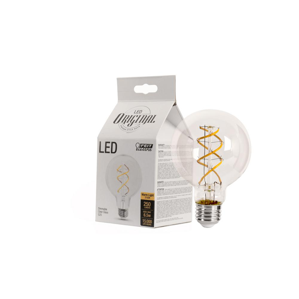 Feit Electric 40W Equivalent Soft White G25 Dimmable LED Antique Edison Spiral Clear Glass Filament Vintage Style Light Bulb