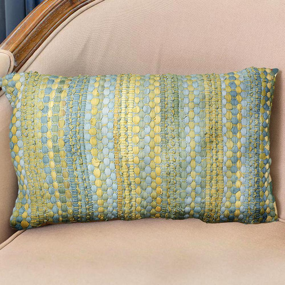 LR Resources Contemporary 16 in. x 24 in. Blue/Yellow Rectangle Decorative Accent Pillow