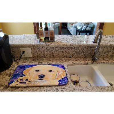 14 in. x 21 in. Multicolor Golden Retriever Dish Drying Mat