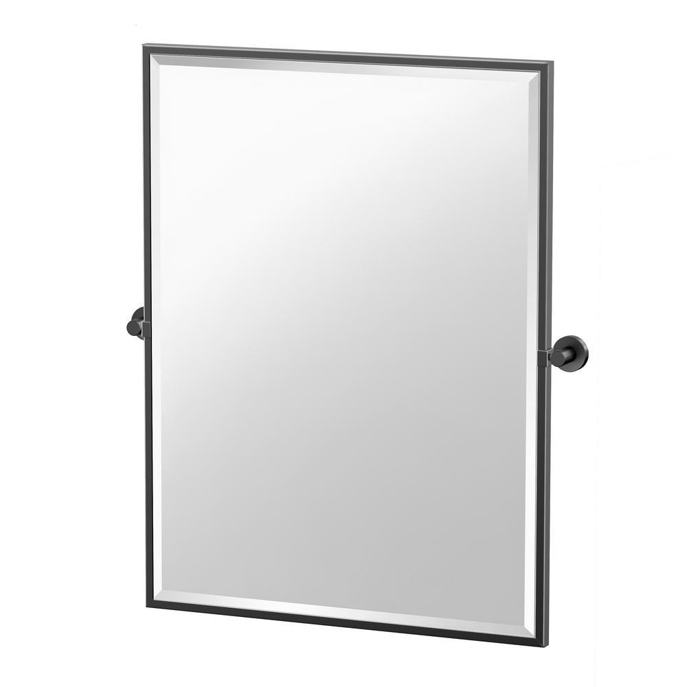 Glam 25 in. W x 33 in. H Framed Rectangle Mirror in Matte Black