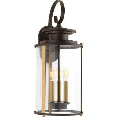 Squire Collection 3-Light Antique Bronze 22.75 in. Outdoor Wall Lantern Sconce
