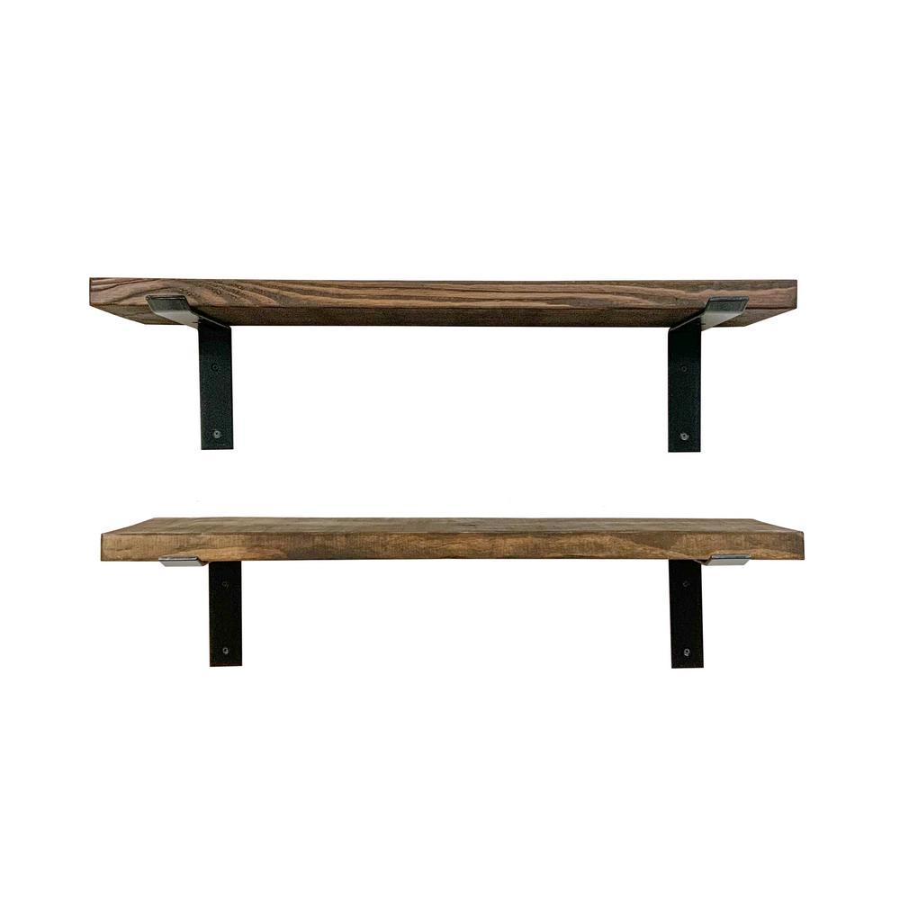 Industrial Bracket 36 in. W x 10 in. D Floating Decorative Shelves (Set of 2)