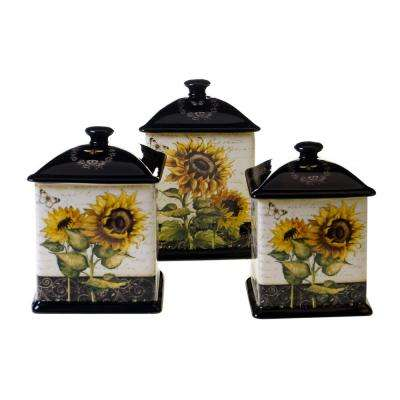 French Sunflowers Canister Set (3-Piece set)