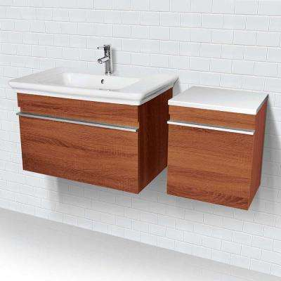 31.5 in. W x 17.7 in. D x 18.3 in. H Vanity in Medium Walnut with White Vanity Top and White Basin
