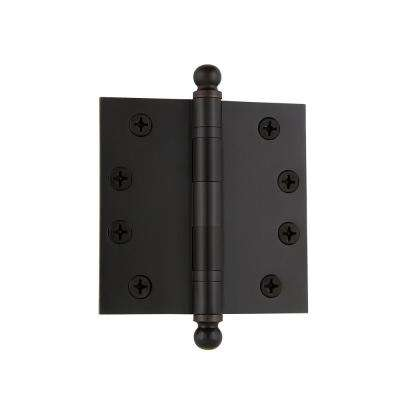 4 in. Ball Tip Heavy Duty Hinge with Square Corners in Timeless Bronze
