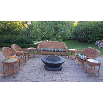 Natural 9-Piece Wicker Patio Fire Pit Seating Set with Black Floral Cushions
