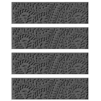 Charcoal 8.5 in. x 30 in. Boxwood Stair Tread Cover (Set of 4)