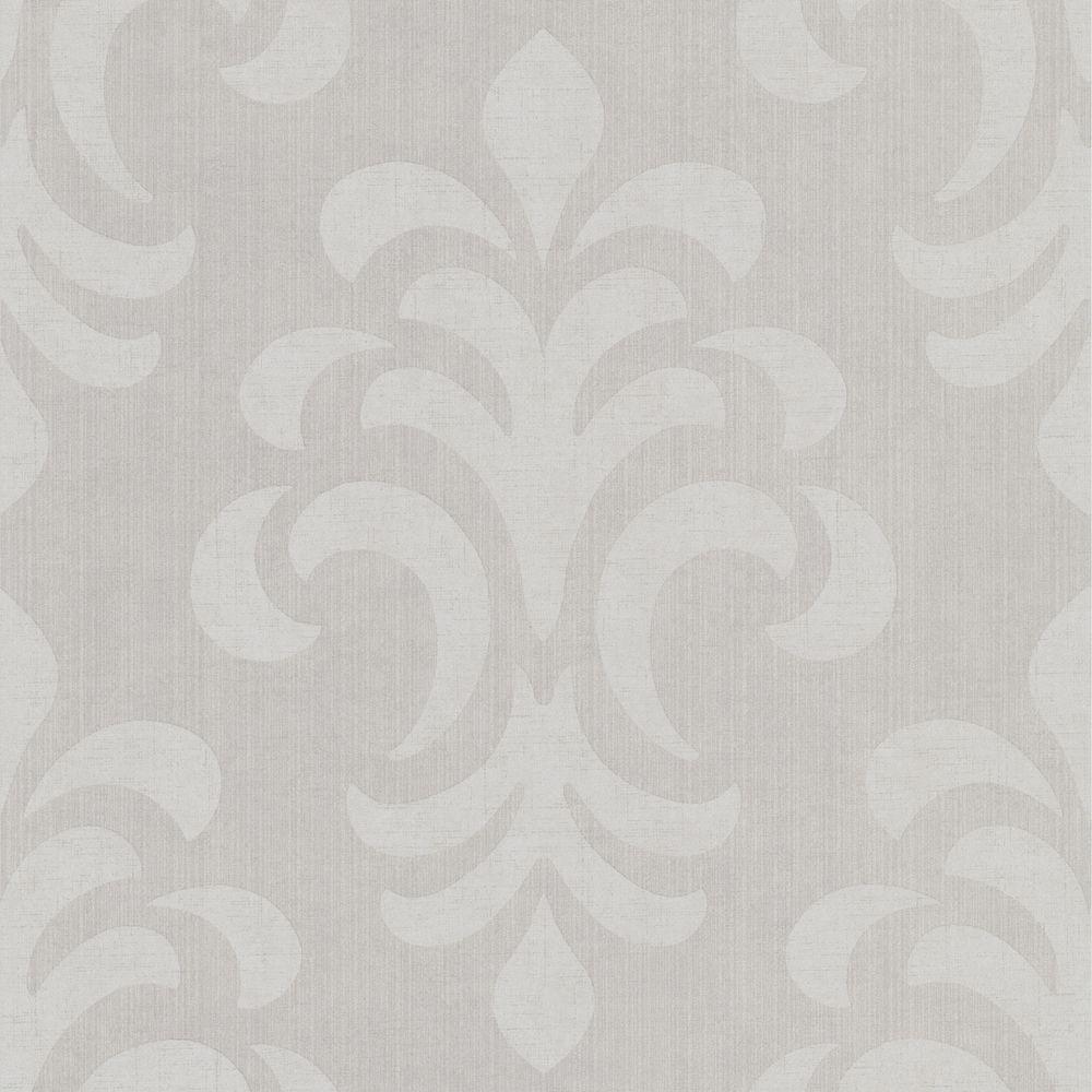 null Atlantic Grey Modern Damask Wallpaper