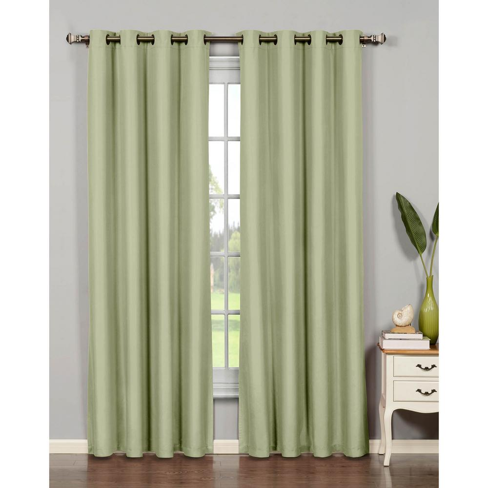 Window Elements Semi Opaque Leila Jacquard Extra Wide 84 In L Grommet Curtain Panel Pair Sage