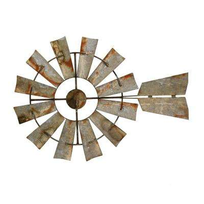 Gray Metal Windmill Wall Art