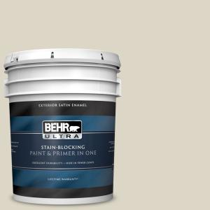 Behr Ultra 5 Gal Ppu8 15 Stonewashed Satin Enamel Exterior Paint And Primer In One 985005 The Home Depot