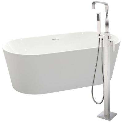 Chand 67 in. Acrylic Flatbottom Non-Whirlpool Bathtub in White with Yosemite Faucet in Brushed Nickel