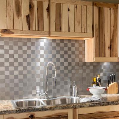 Square Matted 12 in. x 4 in. Brushed Stainless Metal Decorative Tile Backsplash (1 sq. ft.)