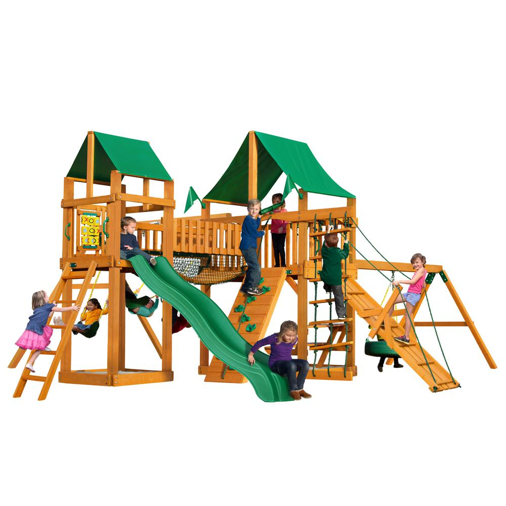 Gorilla Playsets Pioneer Peak Wooden Playset with Green Vinyl Canopy and Tire Swing