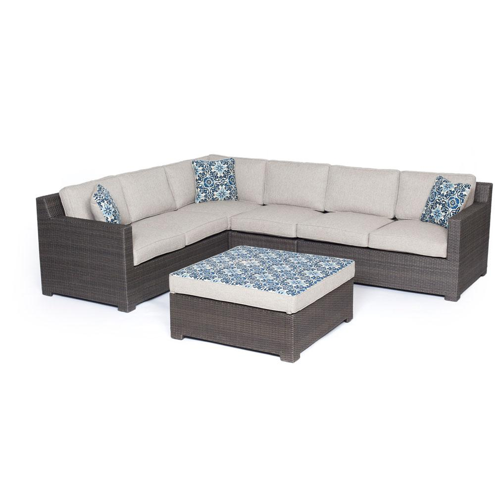Agio Modena 5-Piece Wicker Patio Sectional Seating Set wi...