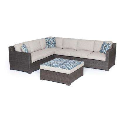 Modena 5-Piece Wicker Patio Sectional Seating Set with Gray Cushions
