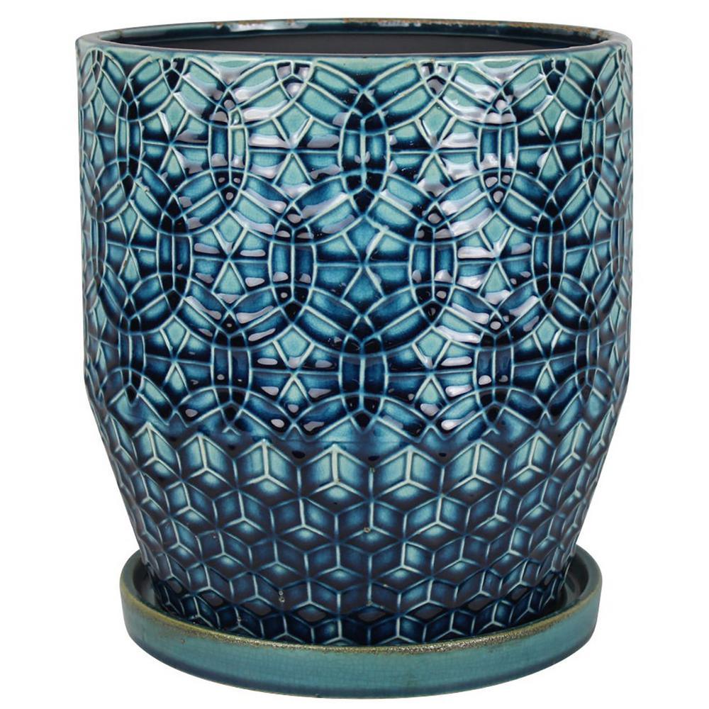 8 in. Dia Blue Rivage Ceramic Planter
