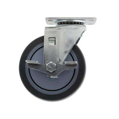 5 in. Medium Duty Gray TPR Swivel Plate Caster with Brake 350 lbs. Weight Capacity