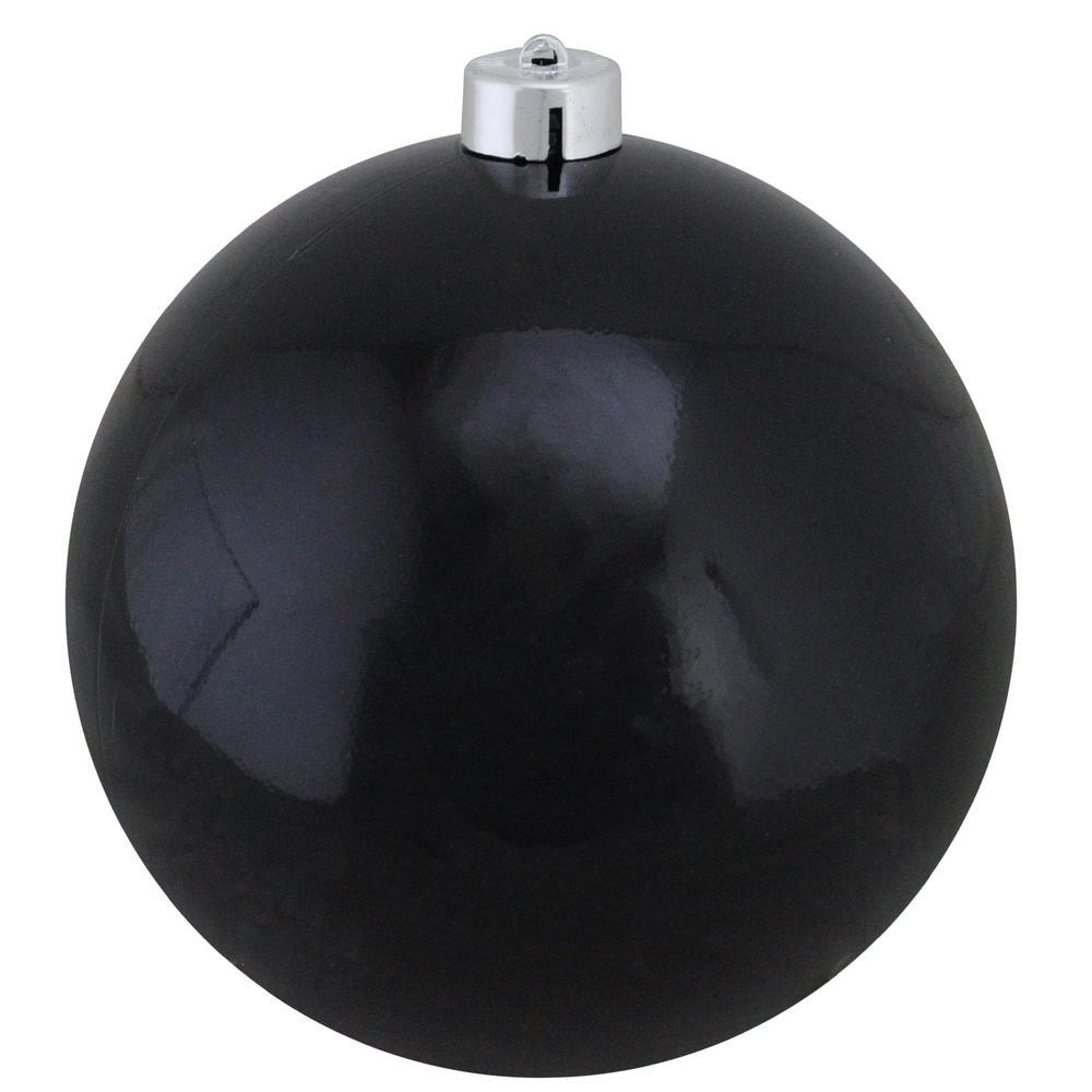 12 in. (300 mm) Shiny Jet Black Commercial Shatterproof Christmas Ball Ornament
