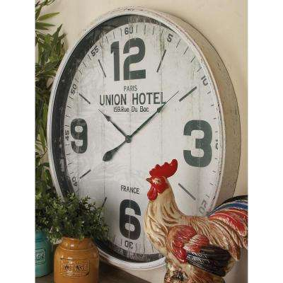 35 in. Old World Inspired Round Wall Clock with Oversized Numerals