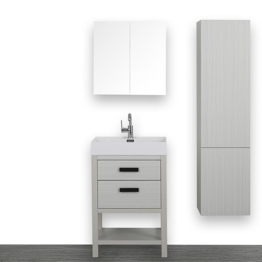 Streamline 23.6 in. W x 32.3 in. H Bath Vanity in Gray with Resin Vanity Top in White with White Basin and Mirror