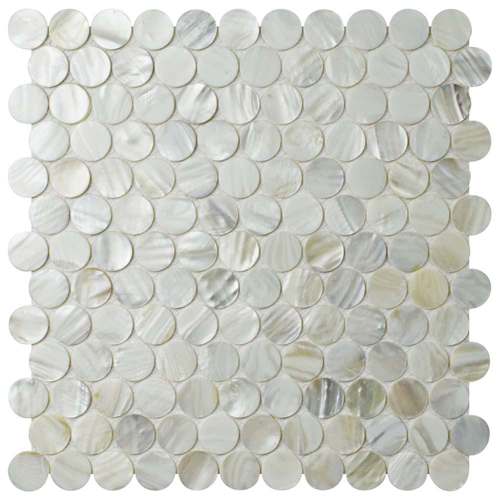 Merola Tile Conchella Penny White 11-1/4 in. x 11-5/8 in. x 2 mm Natural Seashell Mosaic Tile