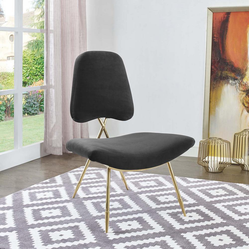 MODWAY Ponder Upholstered Velvet Lounge Chair in Black