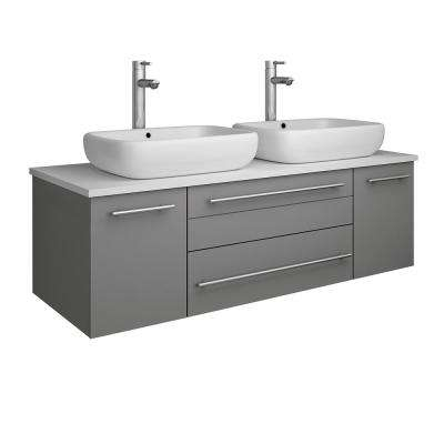 Lucera 48 in. W Wall Hung Bath Vanity in Gray with Quartz Stone Vanity Top in White with White Basins
