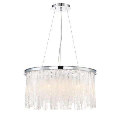 Candice Collection 10-Light Polished Chrome Chandelier with Granular Glass Shade