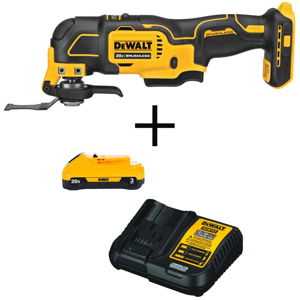 DEWALT ATOMIC 20-Volt MAX Li-Ion Brushless Cordless Oscillating Tool (Tool-Only) with Bonus Battery Pack 3.0Ah and Charger