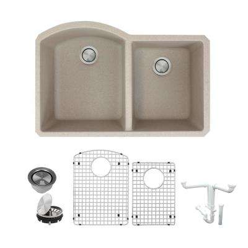 Aversa All-in-One Undermount Granite 31 in. 1-3/4 in. D-Shape Double Bowl Kitchen Sink in Cafe Latte