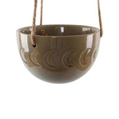 5 in. Olive Green Ceramic Moon Phase Hanging Planter Pot