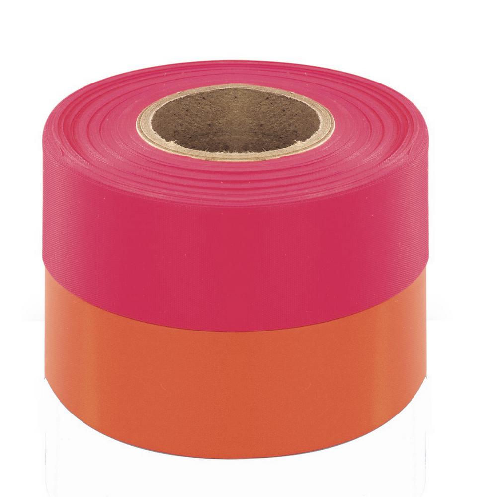 Bon Tool 1-3/16 in. x 150 ft. Fluorescent Pink Flagging Tape (12-pack)