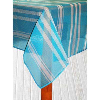 Bistro Stripe 52 in. x 70 in. Blue Vinyl and Poly Tablecloth