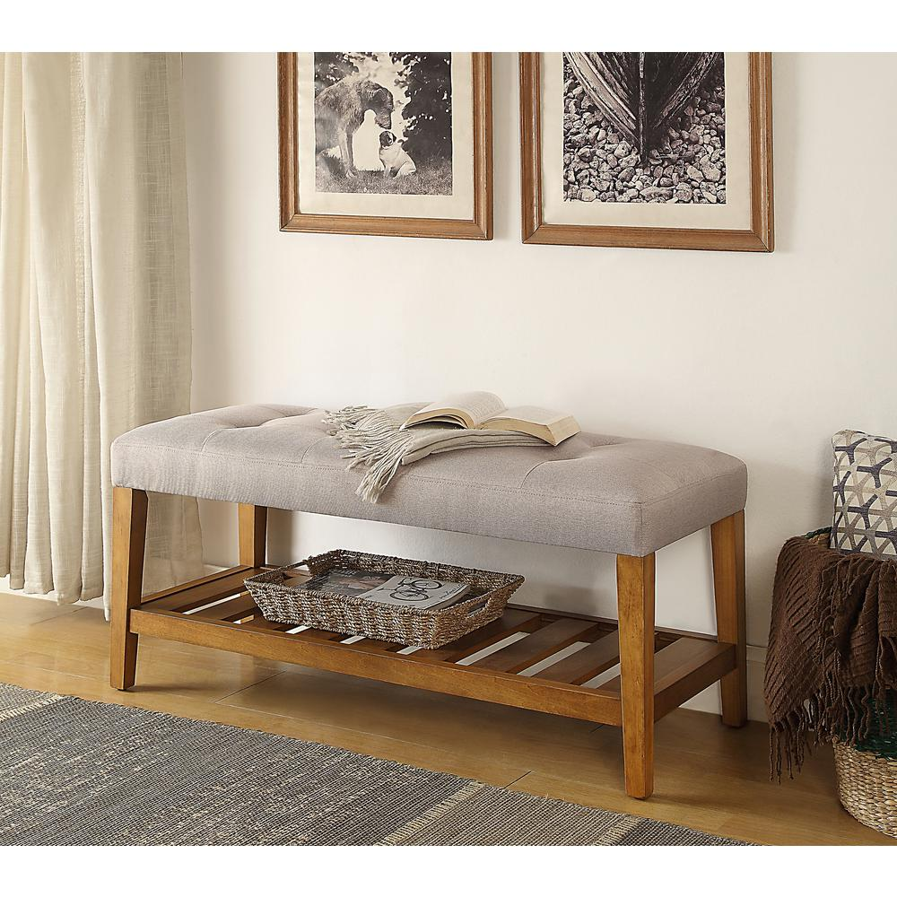 Charla Light Gray and Oak Storage Bench