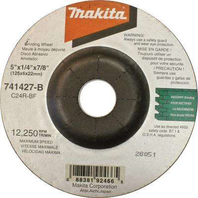 5 in. x 5/8 in. x 1/4 in. 24-Grit Grinding Wheel (25-Pack)