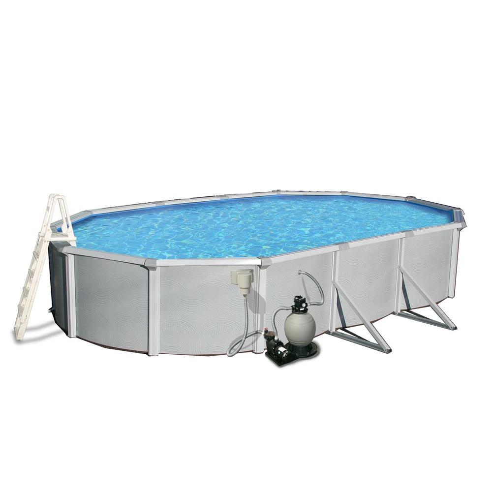 Blue Wave Samoan 18 ft. x 33 ft. Oval 52 in. Deep 8 in. Top Rail Metal Wall Swimming Pool Package